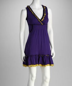 Take a look at this Purple Surplice Dress by Coline USA on #zulily today!