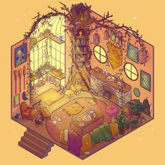 Hufflepuff Common Room, an art print by Brittnie Marcil - INPRNT Arte Do Harry Potter, Harry Potter Houses, Hogwarts Houses, Harry Potter World, Hufflepuff Common Room, Slytherin, Desenhos Harry Potter, Japon Illustration, Face Illustration