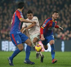 Alexis Sanchez of Manchester United in action with Joel Ward of Crystal Palace during the Premier League match between Crystal Palace and Manchester. Joel Ward, Premier League Matches, Crystal Palace, Manchester United, Action, The Unit, Football, Sports, Soccer