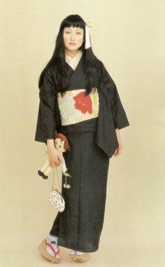 Kimono-hime issue Fashion shoot page 8 Japanese Outfits, Japanese Fashion, Japanese Clothing, Traditional Kimono, Traditional Outfits, Cute Kimonos, Modern Kimono, Kimono Japan, Kimono Design