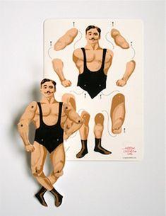 Muscle man! Samen knutselen, deze trekpop - leuke uitnodiging voor een circusfeestje *gratis download* via Appracadabra