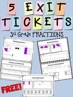 This set contains five exit tickets that match the Grade Fractions Common Core State Standards. 3rd Grade Fractions, Teaching Fractions, Third Grade Math, Math Fractions, Teaching Math, Teaching Ideas, Math Resources, Math Activities, Fraction Activities