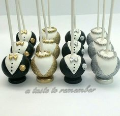 Tuxedo and dress cake pops