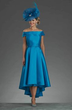 Dipped hem dress with bardot style neckline. size 8 - Catherines of Partick
