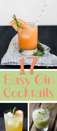 17 Creative Gin And Tonic Cocktails. 17 delicious ways to drink more gin! Gin Recipes, Gin Cocktail Recipes, Cocktail Drinks, Coctails Recipes, Easy Recipes, Gin & Tonic Cocktails, Easy Cocktails, Gin Mixed Drinks, Gin Und Tonic
