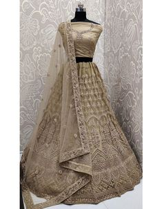 Beige lehenga choli with dupatta. Work - Cording and resham embroidery with stone work. Product can be customized up to Matching choli and dupatta comes with this. Net Lehenga, Saree, Lucknowi Suits, Bridal Lehenga Online, Ghagra Choli, Designer Collection, Salwar Kameez, Indian Outfits, Party Wear