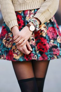 Floral skirt, layered tights