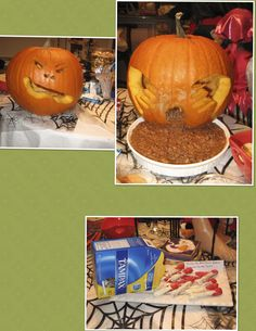 Halloween Food - Pumpkin Poop (Black Bean Dip) & Bloody Tampon Pretzels - Gross but Funny !