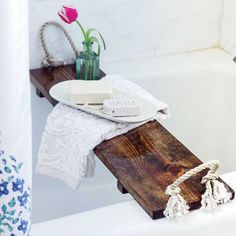 Improve your spa experience by creating your own DIY wooden bath tray.