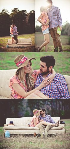 Cool engagement shoot with summer indie style