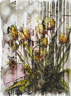 Yellow tulips, Bernadeta Sudnikowicz, akwarela i tusz papier 300g, 46 x34 cm, 2015