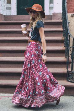 Tee and maxi skirt #Boho