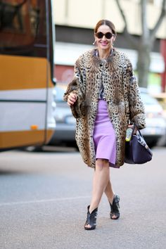 SHOP THE LOOK:    MFW live: Rocking panter  A luxurious leopard print coat worn over a pastel skirt with some black accessories.