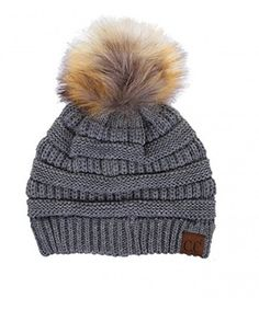 10b69a4a39f0c Women s CC Beanie Soft Stretch Cable Knit Pom Pom C.C Beanie Hat Dark Grey  CR188U3IHLK