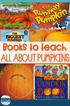 5 fun pumpkin books for preschool, kindergarten or first grade. Your toddlers will even love these! Whether getting ready to make a craft, do a project with pumpkins or learn about life cycles these books are great for kids. I use these when I teach All A Pumpkin Books, Pumpkin Crafts, Pumpkin Preschool Crafts, Fall Crafts, Preschool Art Projects, Fall Preschool, October Preschool Themes, Kindergarten Books, Preschool Books
