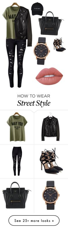"""""""street style"""" by luisjaycee on Polyvore featuring WithChic, Yves Saint Laurent, Marc Jacobs and Lime Crime"""
