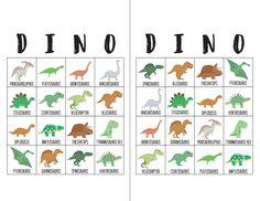 Dinosaur Bingo Cards - The Okie Home Dinosaur Party Games, Dinosaur Birthday Invitations, Dinosaur Activities, Dinosaur Crafts, Dinosaur Birthday Party, Birthday Party Games, 4th Birthday, Dinosaur Decorations, Dinosaur Dinosaur
