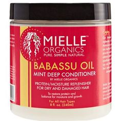 Mielle Babassu Oil and Mint Deep Conditioner restores dry and damaged hair. Best Natural Hair Products, Natural Hair Care, Natural Hair Styles, Black Hair Care Products, Beauty Products, Fish Oil Benefits, Babassu Oil, Pelo Afro, Organic Brand