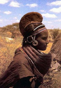 Africa | Rendille woman, Kenya || Scanned postcard image. //
