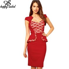 women office wear summer autumn 2016 sexy fashion Peplum Red Formal Dress sleeved Lace Insert party midi dresses 6159
