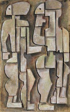 José Gurvich, Adam and Eve, 1959. -- Gurvich Uruguayan painter, potter, musician and a key figure in the Constructivism Art movement.