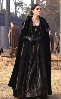 Mary Sibley, Black silk brocade cape.  Black cut velvet dress with black paisley patterned underskirt.  Season 2