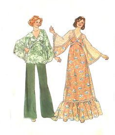 70s Boho Maxi Dress / Top / Wide Leg Pants by treazureddesignz,