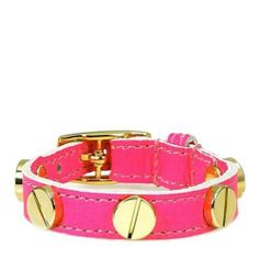 "CC Skye Gold Screw Bracelet, Neon Pink CC Skye. $95.00. 8.5"" inches in length. Adjustable buckle closure. Gold plated metal on neon pink leather"