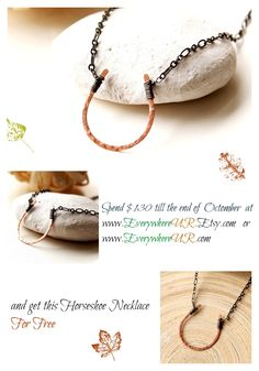 Get this Horseshoe Necklace for Free for any purchase of $130 or more till the end of the month on www. EverywhereUR.com or www.EverywhereUR.Etsy.com #freegift #giveaway #horseshoe #necklace