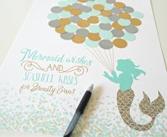 ***ON SALE! $10 OFF ALL SIZES*** This light Teal, Purple and Gold Mermaid Baby Shower Guest Book Alternative is the perfect addition to your mermaid baby girl shower or birthday party decor! Let guests leave a lasting memento by signing a balloon to complete the mermaid print. The text can be personalized to read, Mermaid wishes and seashell kisses for ______(baby name here)________ or the name can be left off. *****BALLOONS DO NOT COME ATTACHED. GLUE DOTS NOT INCLUDED. *****BALLOONS ARE…