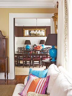 For a cohesive look, flow two or three of the same colors in each room: http://www.bhg.com/decorating/color/colors/best-color/?socsrc=bhgpin060814flowingcolors&page=10