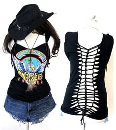 Julia's unique Tank Tops made from Van Halen Tour Tees.Look at cuts out with knots on back!! They are Julia's art.Brown Suede strings are cute accents.Perfect outfit for VH concert starting in this summer. Van Halen is from our town, Pasadena, CA. So, Julia put her soul on this customization.You can pair up with denim shorts, maxi skirt... etc. Size (see below)