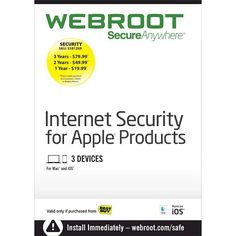 Webroot SecureAnywhere Internet Security for Apple products (3-Device) (1-Year Subscription) - Mac|iOS