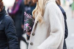 athens_Street_Style_woman_grey_coat_givenchy_floral_clutch