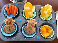 A Snowy Muffin Tin Lunch.oh the possibilities. I need to buy more muffin tins! Muffin Tin Recipes, Snack Recipes, Muffin Tins, Cute Food, Good Food, Lunch Snacks, Rice Krispie Treats, Cooking With Kids, Creative Food