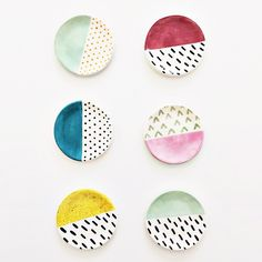 Colorblock ring dishes