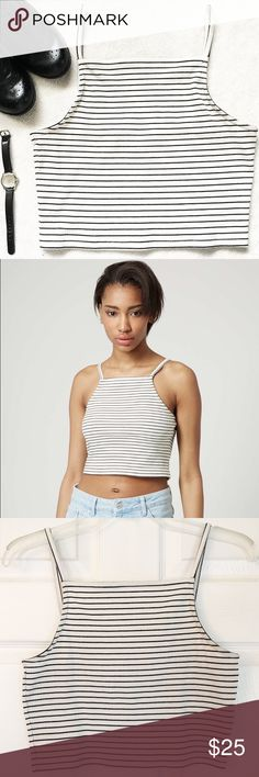 "Topshop Black and White Striped High Neck Crop Top SALE: 50% OFF ALL BUNDLES   Black and white striped crop top by Topshop   Is white with thin black stripes on the shirt and straps   High neck    Thin, spaghetti straps   Has lots of stretch   Size 8, or medium  Measurements: Bust: 30"" Waist: 16.5"" Length (from straps to hem): 28""   Note: The second picture is not mine and was taken from the Topshop website Topshop Tops Crop Tops"