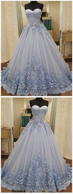 Elegant Tulle Evening Dress, Sexy Ball Gown Appliques Baby Blue