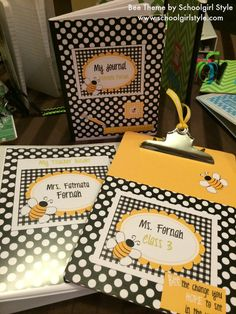 Bee Classroom Theme and Decor by Schoolgirl Style Classroom Organization crafts...teacher binder, clipboard, and journal www.schoolgirlstyle.com