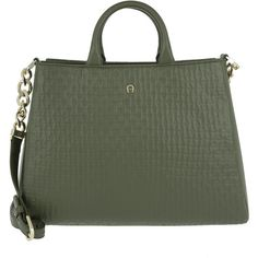 Aigner Handle Bag - Olivia Tote M Olive Green - in green - Handle Bag... (1.715 RON) ❤ liked on Polyvore featuring bags, handbags, tote bags, green, leather purses, olive green handbag, zippered tote bag, leather totes and leather tote purse