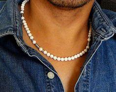 White Magnesite Stone Necklace for Men Handmade by mamisgemstudio, $29.95