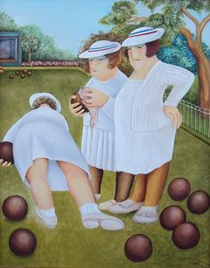 """""""Beryl Cook's depiction of the Bowling Green Massacre is particularly moving. Beryl Cook, Family Picnic, English Artists, Andreas, Hens Night, Fat Women, Girls Shopping, Paintings For Sale, Bowling"""