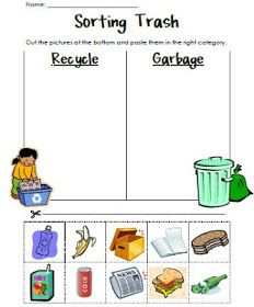 Sorting Trash - An Earth Day Lesson. Great for teaching recycling Kindergarten Science, Science Classroom, Teaching Science, Kindergarten Worksheets, Classroom Activities, Teaching Art, April Preschool, Free Preschool, Preschool Printables