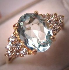 A Stunning Vintage Aquamarine and Diamond Ring, Estate Art Deco Style in 14K Gold, A Perfect Wedding Ring Idea.