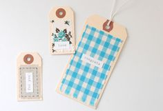 DIY: Pretty Fabric Scrap Gift Tags from Creature Comforts. Fabric Gifts, Fabric Tags, Fabric Scraps, Scrap Fabric, Fabric Labels, Cute Gifts, Diy Gifts, Handmade Gifts, Pretty Packaging
