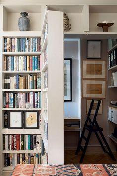 Genius Ideas for Utilizing Your Home's Nooks and Crannies// hidden office, bookcase door