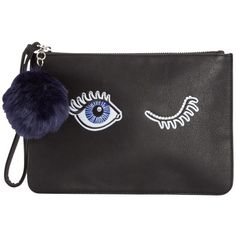 Miss Selfridge Eye Clutch Bag, Black ($27) ❤ liked on Polyvore featuring bags, handbags, clutches, zipper handbag, man bag, metallic purse, holiday purse and evening handbags