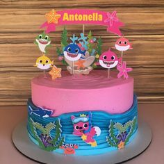 Girls 2nd Birthday Cake, Shark Birthday Cakes, 1st Birthday Girl Decorations, Bithday Cake, Baby Birthday, Shark Cake, Girl Cakes, Baby Shark, Kids