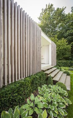 Modern poolhouse crépi met hout | Bogarden Isolation Facade, Natur Pool, Modern Architecture House, Facade Architecture, Landscape Architecture, Timber Cladding, Garden Design, Garden Stairs, Pool Houses