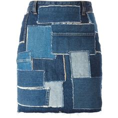 Saint Laurent Patchwork Denim Skirt ($774) ❤ liked on Polyvore featuring skirts, bottoms, denim skirts, blue, straight skirts, blue skirt, high waisted denim skirt, high-waisted skirts and patchwork denim skirt
